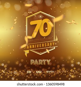 70 years anniversary logo template on gold background. 70th celebrating golden numbers with ribbon and confetti isolated design elements.