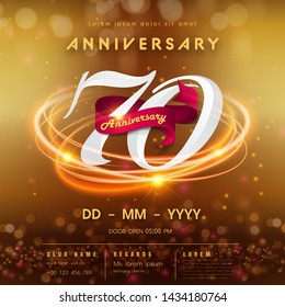 70 years anniversary logo template on golden Abstract futuristic space background. 70th modern technology design celebrating numbers with Hi-tech network digital technology concept design elements.
