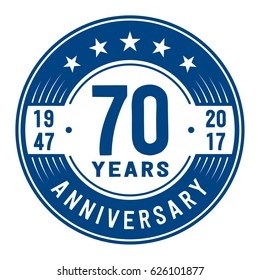 70 years anniversary logo template. Vector and illustration.
