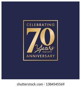 70 Years Anniversary Logo Vector Template Design Illustration