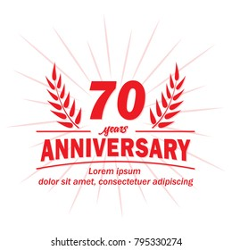 70 years anniversary logo. Vector and illustration.
