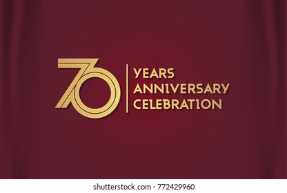 70 Years Anniversary Logotype with  Golden Multi Linear Number Isolated on Red Curtain Background