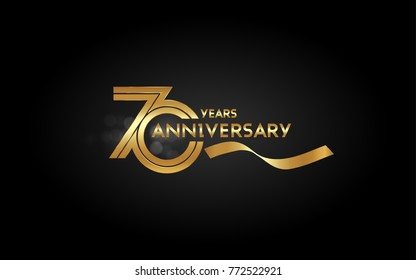 70 Years Anniversary Logotype with  Golden Multi Linear Number and Gold Ribbon, Isolated on Black Background