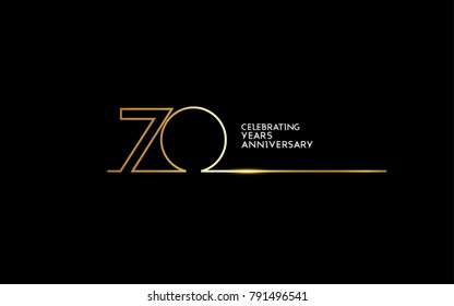 70 Years Anniversary logotype with golden colored font numbers made of one connected line, isolated on black background for company celebration event, birthday
