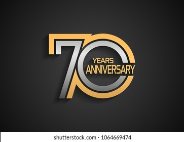 70 years anniversary logotype with multiple line silver and golden color isolated on black background for celebration event