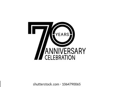 70 years anniversary logotype with multiple line black color isolated on white background for celebration event
