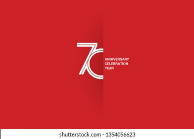 70 years anniversary, minimalist logo jubilee, greeting card. Birthday invitation. White space vector illustration on Red background - Vector