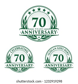 70 years anniversary set. 70th celebration logo collection. Vector and illustration.