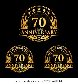70 years anniversary set. 70th celebration logo collection. Vector and