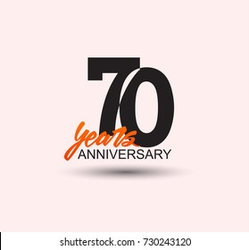 70 years anniversary simple design with negative style and yellow color isolated in white background