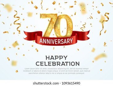 70 years anniversary vector banner template. Seventieth jubilee with red ribbon and confetti on white background