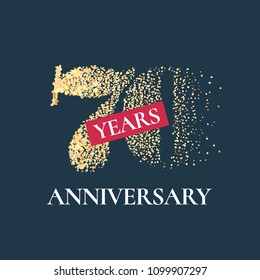 70 years anniversary vector icon,  logo. Graphic design element with golden glitter number for 70th anniversary card