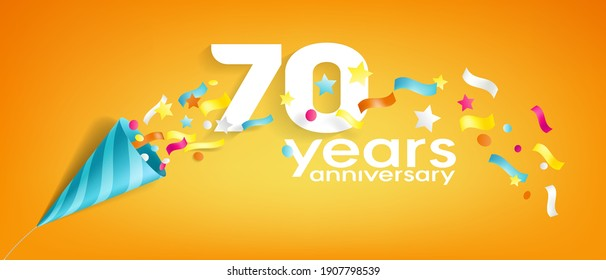 70 years anniversary vector icon, logo, greeting card. Design element with slapstick for 70th anniversary
