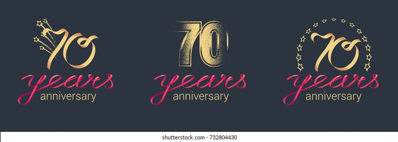 70 years anniversary vector icon,  logo set. Graphic design element with lettering and red ribbon for  celebration of 70th anniversary