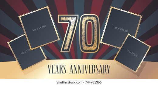 70 years anniversary vector icon, logo. Template design element, greeting card with collage of photo frames and gold color number for 70th anniversary. Can be used as background or banner