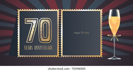70 years anniversary vector icon, logo. Template design, greeting card with collage of photo frames, number for 70th anniversary and champagne for background or banner