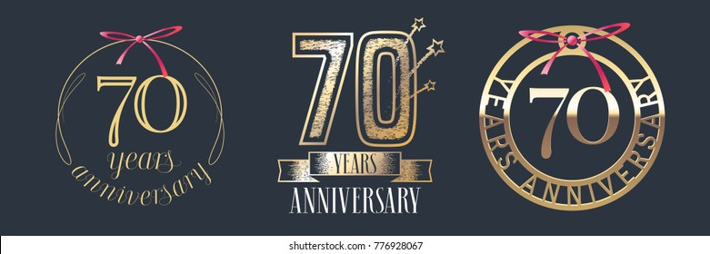 70 years anniversary vector icon,  logo set. Graphic design element with  golden numbers for 70th anniversary celebration