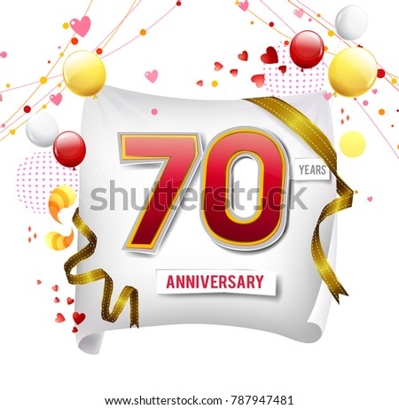 Birthday Wishes 70 Years Old Anniversary Vector Illustration Banner Flyer Logo Icon Symbol Graphic Design Element With Flag Balloon
