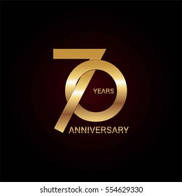70 years gold anniversary celebration simple logo, isolated on dark background