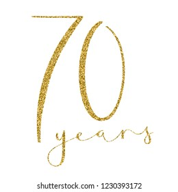70 YEARS gold glitter brush calligraphy icon