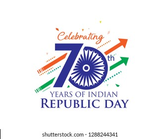 70 years of Indian republic day celebration background, logo, typography, idea, poster. With tricolor arrow flags, growth and confetti. Vector Illustration
