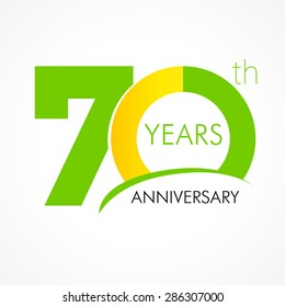 70 years old celebrating classic logo. Colored happy anniversary 70 th template numbers. Greetings celebrates. Traditional framed digits of ages. Special prize, % off, O or 0. Card's or label's idea.