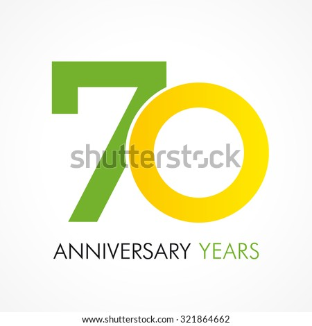 70 Years Old Celebrating Classic Logo Anniversary Year Of Th Vector Template Birthday