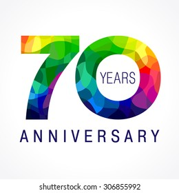 70 years old celebrating colored logo. Anniversary 70 th vector template numbers. Happy birthday greetings celebrates. Stained-glass digits of jubilee ages. Mosaic pattern figures in various colors.