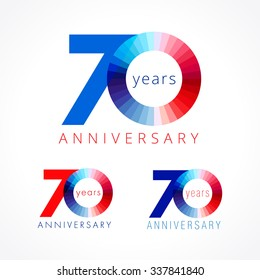 70 years old celebrating colored logo. Anniversary numbers 70 th. Shining congratulating logotype. Greetings celebrates set red, blue, white colors. Stained digit  seventy, 0, % off isolated template.
