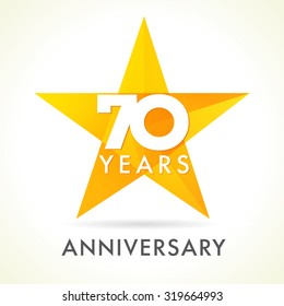 70 years old celebrating star logo. 70 th anniversary vector congrats color numbers. Greetings celebrates of winner. Stained-glass colorful stars shape. Mosaic gold colored template, best offer sign.