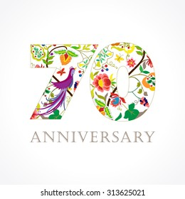 70 years old luxurious celebrating folk logo. Template colored happy anniversary greetings, ethnics flowers, plants, paradise flying birds. Set of traditional vintage style colorful congratulations.