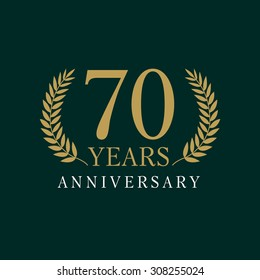 70 years old luxurious logo. Anniversary year of 70 th vector gold colored template framed of palms. Greetings ages celebrates. Celebrating tradition branches. 7 th place symbol of victory and success