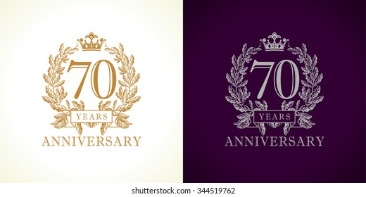 70 years old luxurious logotype. Congratulating 70th numbers gold colored template framed in palms. Isolated greetings celebrates. Celebrating traditional seventy in branches. Seven, 7th win place.