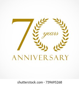 70 years old luxurious logotype. Congratulating 70th, 7th numbers, letter O as circle of palms tree, cup template. Isolated sign greetings symbol, celebrating traditional decorative retro style ear.