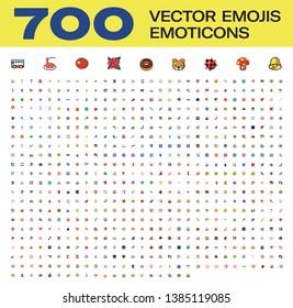 700 Vector All Emojis, Emoticons
