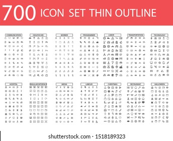 700 Vector illustration of thin line icons for business, social media, technology,Christmas,Halloween , labor ,restaurant, medicine, travel, weather, construction, arrow. Linear symbols set