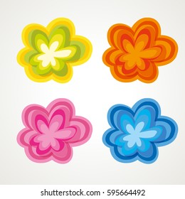 70ies vintage flowers in different colors