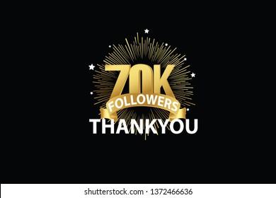 70K, 70000  Followers anniversary, minimalist logo years, jubilee, greeting card. invitation. Sign Ribbon Gold space vector illustration on black background - Vector