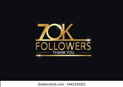 70K, 70.000 Followers celebration logotype. anniversary logo with golden and Spark light white color isolated on black background, vector design for celebration, Instagram, Twitter - Vector