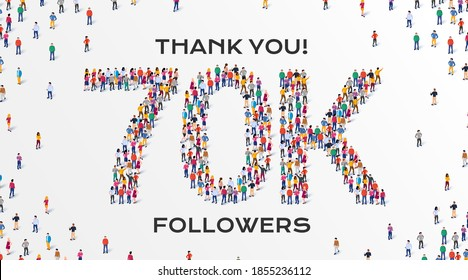 70K Followers. Group of business people are gathered together in the shape of 70000 word, for web page, banner, presentation, social media, Crowd of little people. Teamwork.