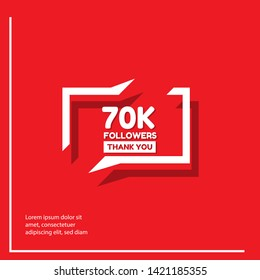 70k Followers - thank you. red design template