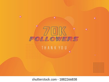 70k followers thank you. thank you 70k followers template. celebration 70k subscribers template for social media. 70000 followers thank you
