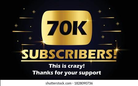70k subscribers vector post 70k celebration. 70k subscribers followers thank you congratulation.