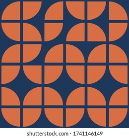 70's geometric shapes pattern. Mid Century Modern Vector seamless repeat perfect on wall paper, wrapping paper, fabrics,textiles and home decor