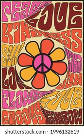 70s groovy retro inspirational slogan print with vintage hippie peace flower for tee t shirt or poster - Vector