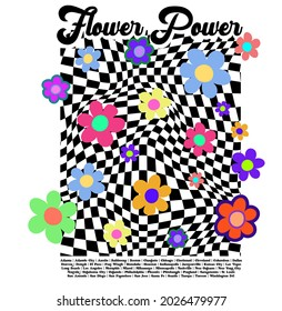 70s groovy retro slogan print with hippie typography, flowers and checkered background for tee t shirt or poster - Vector