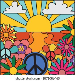 70's groovy retro sunshine and flowers print with peace sign - Vintage hippie floral illustration for girl tee - t shirt and sticker - poster