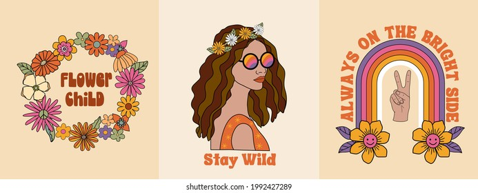 70s inspired retro hippie graphic set for T-shirt, posters, cards, stickers. Inspirational typography slogan in warm colors of orange, yellow brown