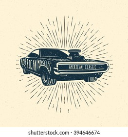 70's Muscle car label, Vintage styled vector illustration.