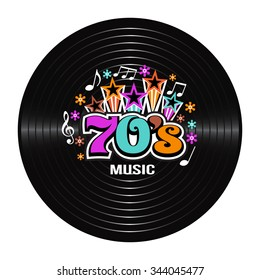 70s Music discography. Vector Illustration